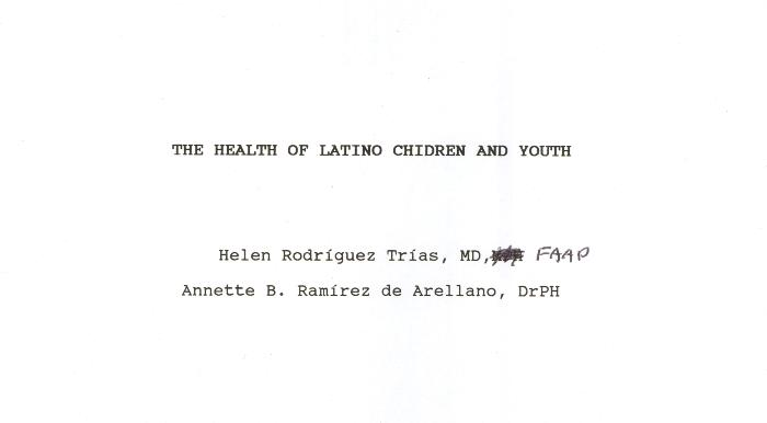 The Health of Latino Children and Youth