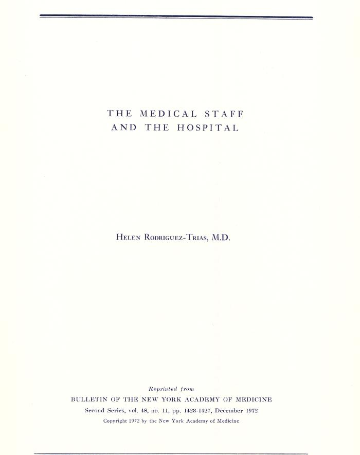 The Medical Staff and the Hospital