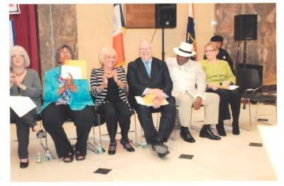 """Tato Laviera and group at """"Save Our Social Security"""" event"""