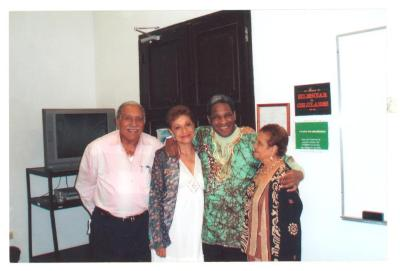 Tato Laviera with family members at a book presentation