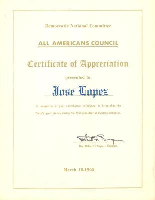 Democratic National Committee certificate to José López