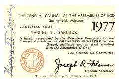 Certificate of Ordained Minister of the Gospel