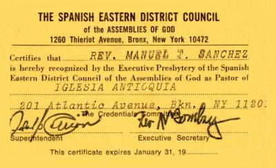 Pastor Certificate at Iglesia Pentecostal Antioquia