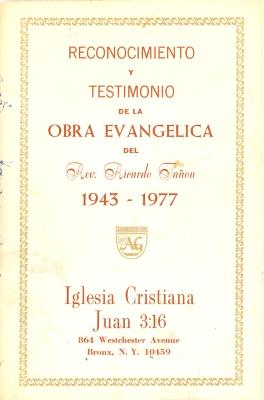 Recognition and Testimony of the Evangelical Work of the Rev. Ricardo Tanon