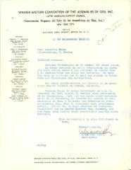 Correspondence to Rev. Demetrio Bazan from the Spanish Eastern District Council