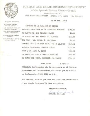Spanish Eastern District Council financial report