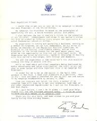Campaign letter from Vice-President George H.W. Bush