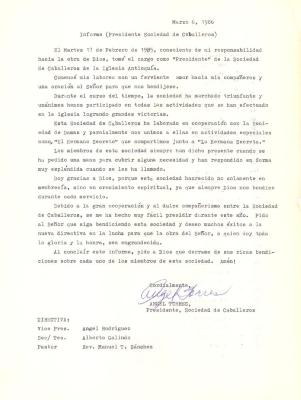 Informe (Presidente Sociedad de Caballeros) / Inform (Society of Gentlemen President)