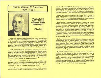 Rvdo Manuel T. Sanchez - 1909-1991