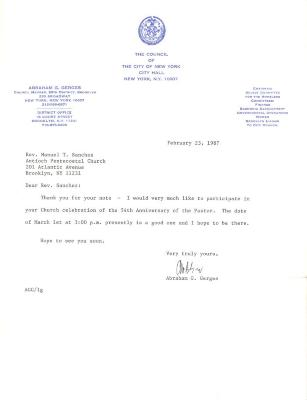 Correspondence to Manuel Sanchez from City Council of New York