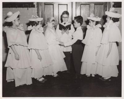 Schoolchildren perform a scene from Shakespearean play