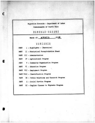 Summary-Monthly Activities Report Apr. 1961