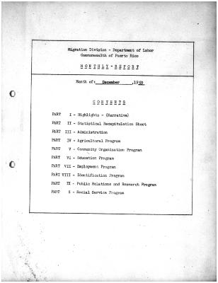 Summary-Monthly Activities Report Dec. 1959