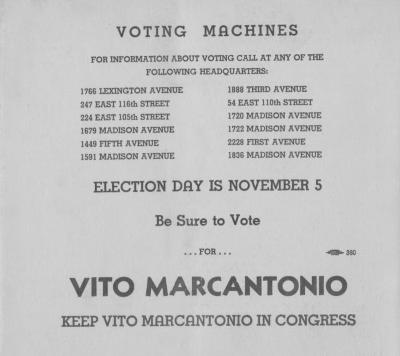 Greetings to the voters of the 20th Congresional District from Vito Marcantonio