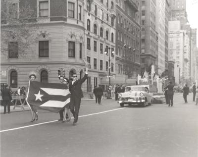 Puerto Rican Day Parade procession on Fifth Avenue with the Puerto Rican flag