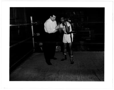 Rafael Tirado in the boxing gym above the Jefferson Theater