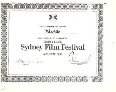 Certification of Sydney Film Festival selection of Machito