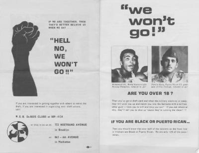 Calling black and Puerto Rican men to resist the Vietnam War draft