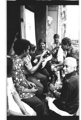 Residents playing music on Longwood Avenue