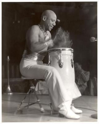 Cándido playing the conga drums