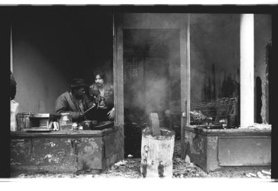 Residents in a charred building on Longwood Avenue