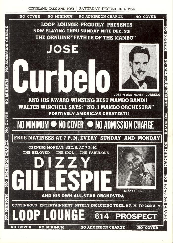Flyer for José Curbelo and Dizzy Gillespie performances