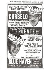 Flyer for José Curbelo and Tito Puente performances