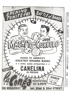 Flyer for Machito and José Curbelo performances