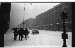 Residents on a snowy day on Longwood Avenue