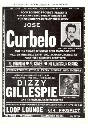 Flyer for José Curbelo and Dizzy Gillespie performances