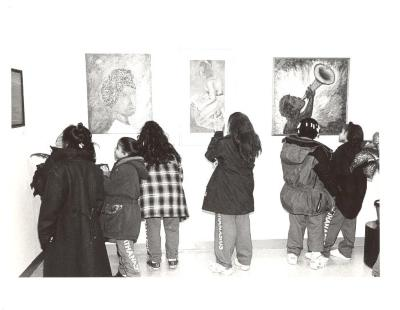Children Looking at Art at the Police Athletic League