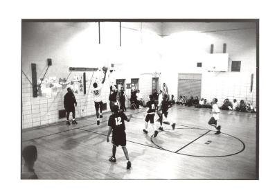 Basketball game at the Police Athletic League