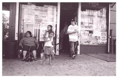 South Bronx residents in front of bodega