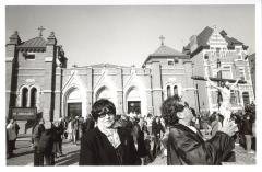 Parishioners outside of St. Athanasius Church