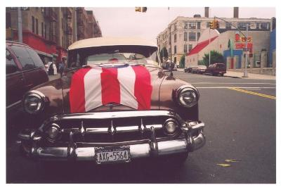 Car with Puerto Rican flag on hood