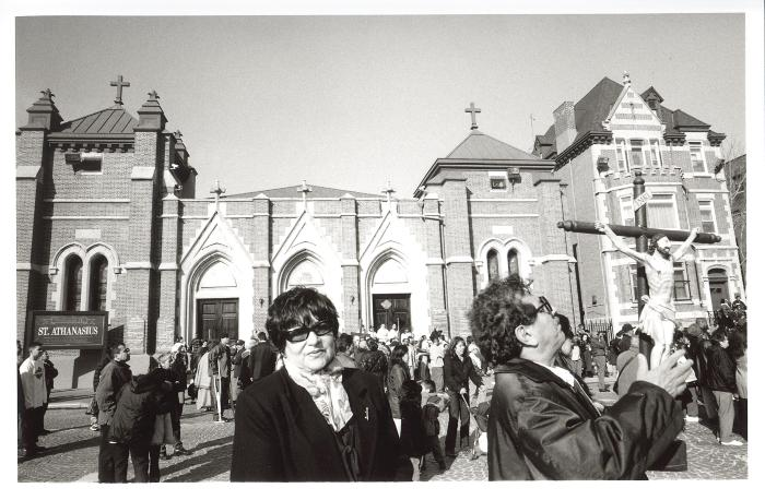 Parishioners outside of St. Athanasius Church