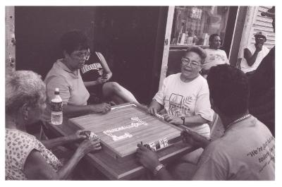 South Bronx residents playing dominos
