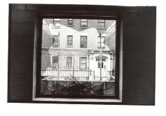 Window view of apartment building