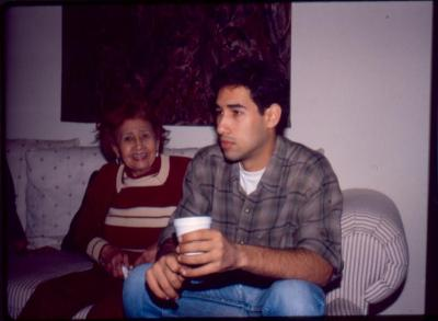 Carlos Ortiz' mother Anita with Ortiz' son Jean Carlos