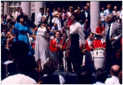 Celia Cruz and Machito performing onstage