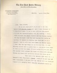 New York Public Library internal letter