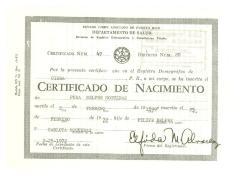 Birth Certificate Pura Belpré Nogueras