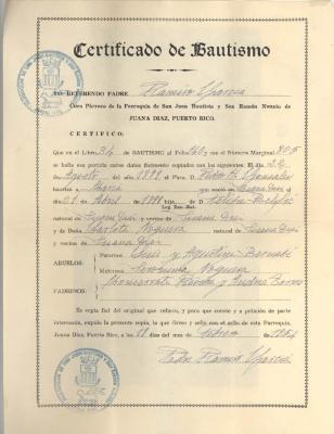 Baptism Certificate Pura Belpré Nogueras