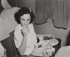 Airplane passenger eating lunch