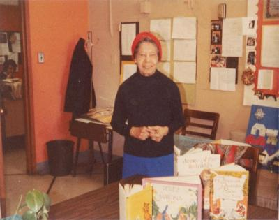 Pura Belpré promoting some of her books