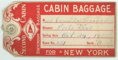 Concha Fernández's baggage ticket for voyage on the Porto Rico Line