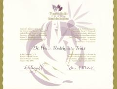 Certificate from Women's Health Forum /Sante des femmes to Dr. Helen Rodriguez-Trias