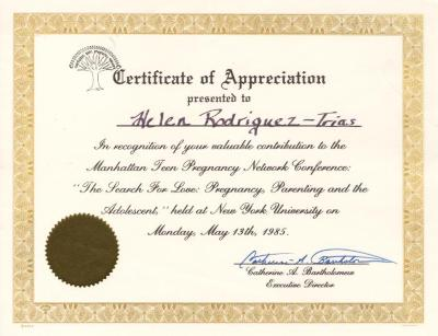 Certificate of Appreciation to Helen Rodriguez- Trias