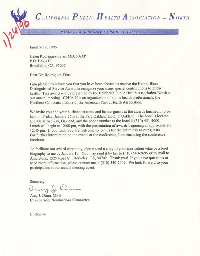 Letter from the California Public Health Association-North
