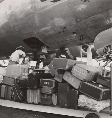 Loading luggage at the Isla Grande Airport in San Juan